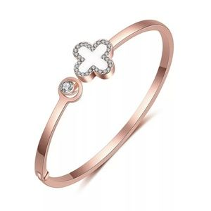rose gold statement fashion 4 leaf clover lucky